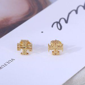 Tory Burch Simple Matte Gold Square Stud Earrings